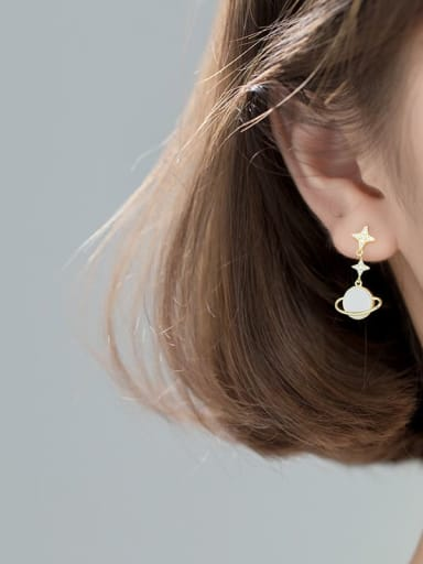 gold 925 Sterling Silver Shell Flower Minimalist Drop Earring