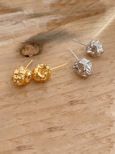925 Sterling Silver Irregular Vintage Stud Earring (Single)