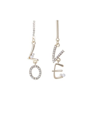 Alloy With Gold Plated Fashion Letters Love Asymmetric  Drop Earrings