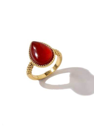 Golden red Copper Water Drop Minimalist Band Ring