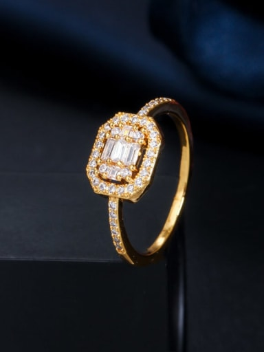 Gold US 6 Copper Cubic Zirconia Geometric Dainty Band Ring