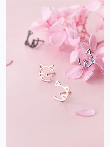 925 Sterling Silver Cute Cat  Stud Earring