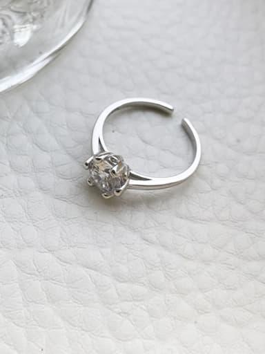 925 Sterling Silver Cubic Zirconia White Heart Minimalist Midi Ring
