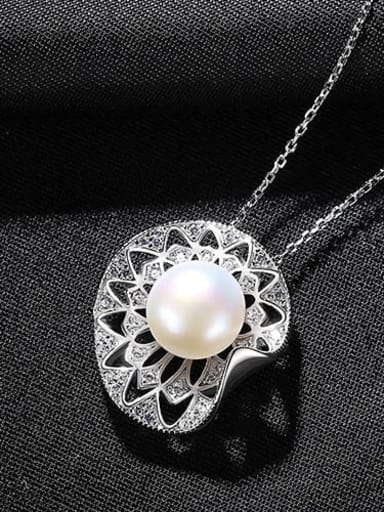 White 7d10 925 Sterling Silver Imitation Pearl Geometric Vintage Necklace