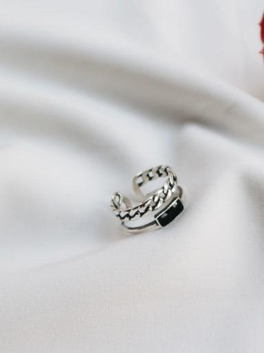 925 Sterling Silver Black Square Enamel Vintage Stackable Ring