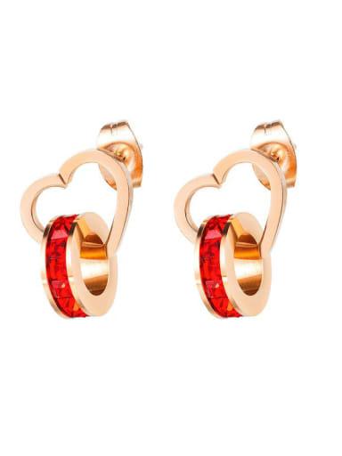 Titanium Rhinestone Heart Minimalist Stud Earring