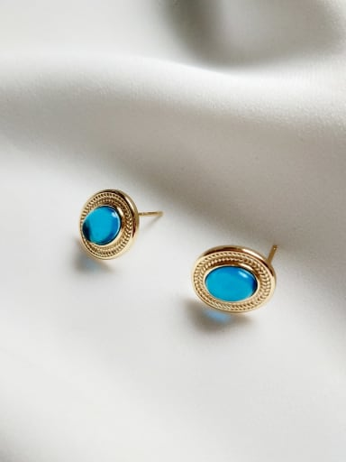 925 Sterling Silver Turquoise Blue Vintage  Magic Blue Glass Stud Earring