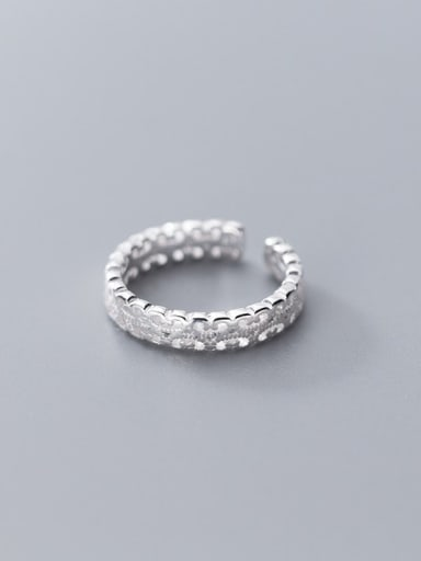 925 Sterling Silver Flower Minimalist Fashion Simple Pattern Hollow Tail Ring