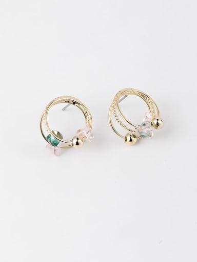 Brass  Minimalist Multi-layer Round studs Stud Earring