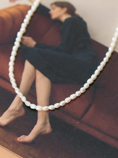 925 Sterling Silver Imitation Pearl Irregular Minimalist Necklace