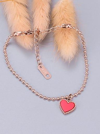 Titanium Red Enamel Heart Minimalist Adjustable Bracelet