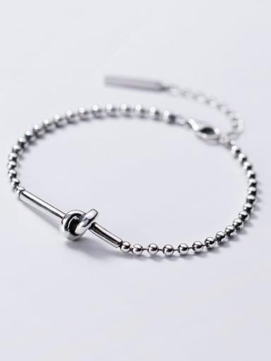925 Sterling Silver Vintage Knot Beaded Bracelet