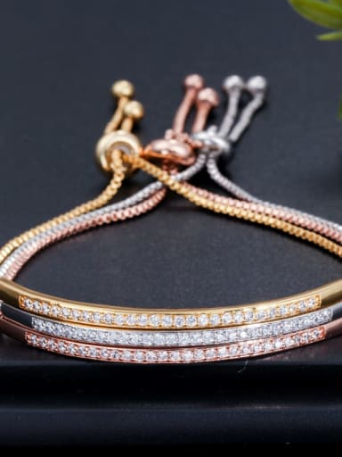Copper Cubic Zirconia Geometric Dainty Adjustable Bracelet