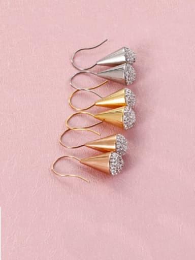 Stainless Steel Rhinestone White Triangle Minimalist Hook Earring