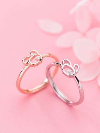 925 Sterling Silver Minimalist Cute rabbit free size Ring