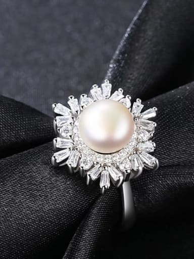 White 10A10 925 Sterling Silver Freshwater Pearl  Flower Trend Band Ring