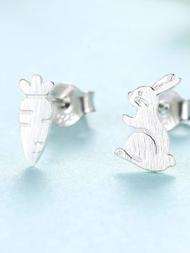 Platinum 17g12 925 Sterling Silver  Minimalist  Cartoon  cute bunny radish Stud Earring