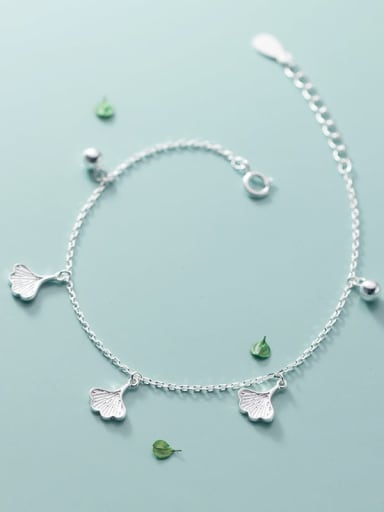 925 Sterling Silver Leaf Minimalist Beaded Bracelet