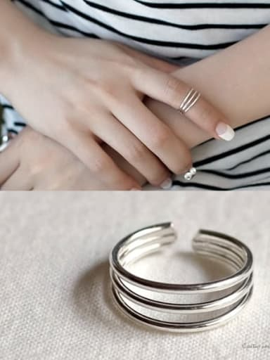 925 Sterling Silver Irregular Minimalist  Three Layer Joint  Stackable Ring