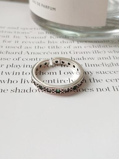 925 Sterling Silver Round Vintage Dark Green Diamond Free Size Midi Ring