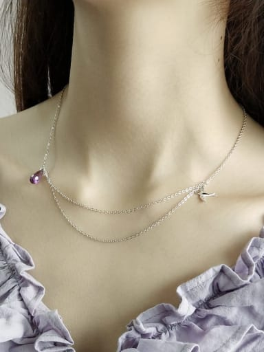 925 Sterling Silver Crystal Purple Water Drop Trend Multi Strand Necklace