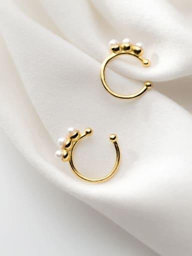 925 Sterling Silver Imitation Pearl C shape Classic Hoop Earring