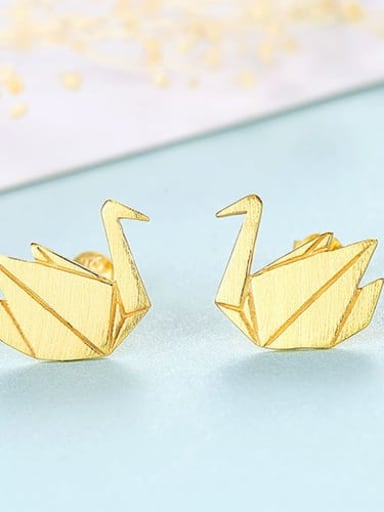 18K 16G11 925 Sterling Silver Irregular Minimalist    Thousand paper cranes Study Earring