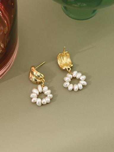 925 Sterling Silver Imitation Pearl  Round Minimalist Drop Earring