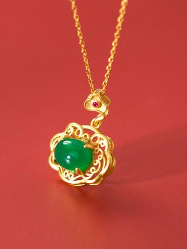925 Sterling Silver Malchite Locket Vintage Necklace