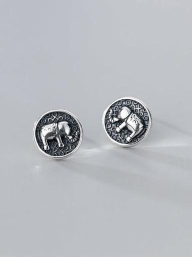 925 Sterling Silver Elephant Vintage Stud Earring