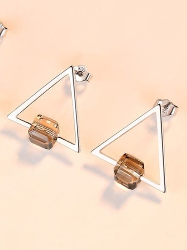 Grey 18F07 925 Sterling Silver Cubic Zirconia Triangle Minimalist Stud Earring