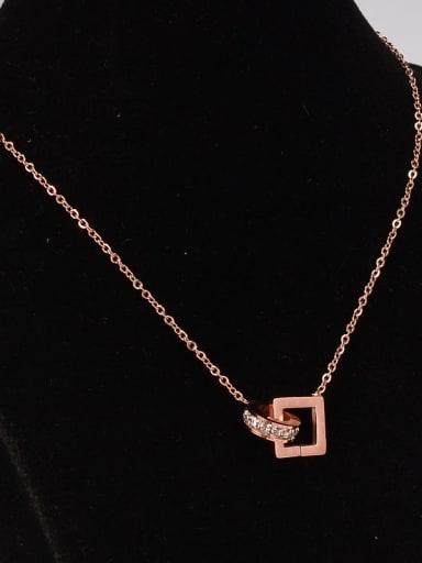 Titanium Double Buckle Full Rhinestone  Square  Necklace