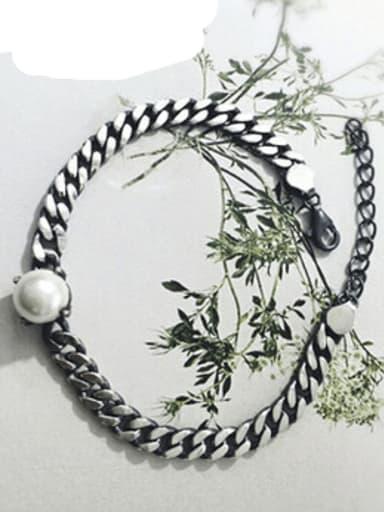 925 Sterling Silver Imitation Pearl Geometric Vintage Link Bracelet