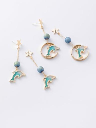 Zinc Alloy Multi Color Enamel Star Cute Drop Earring