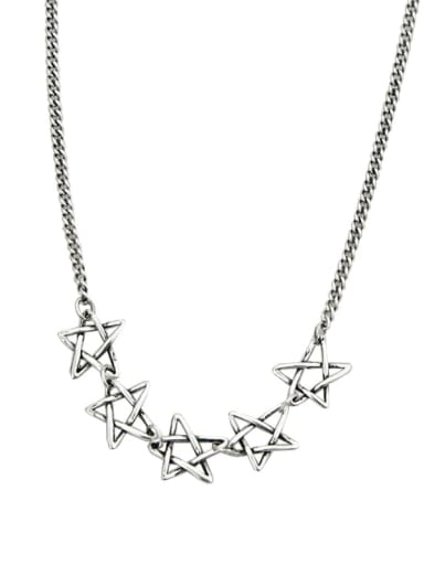 Vintage Sterling Silver With Platinum Plated Fashion Hollow Star Necklaces