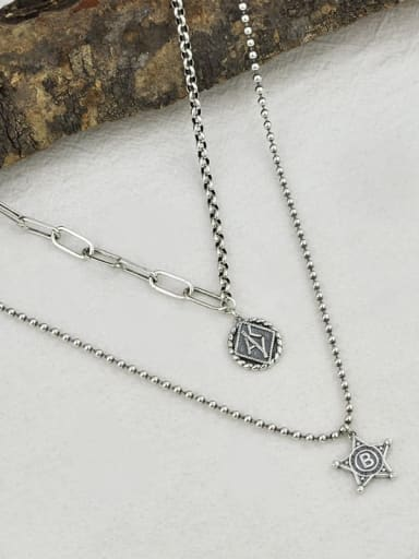 Vintage Sterling Silver With Antique Silver Plated Trendy Geometric Multi Strand Necklaces