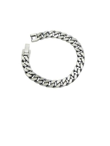 Vintage Sterling Silver With Simple Retro Chain Couple Bracelet  Bracelets