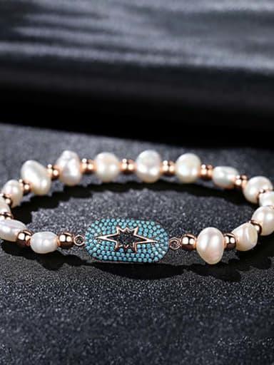 Light blue rose gold t14e12 Copper Cubic Zirconia Geometric Dainty Bracelet