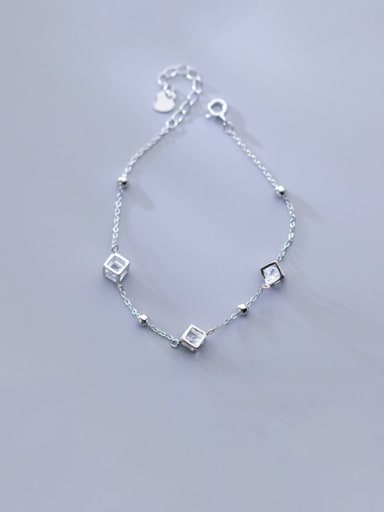 925 Sterling Silver Minimalist Square  Cubic Zirconia   Bracelet