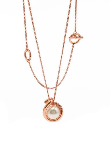 rose Copper Imitation Pearl White Round Minimalist Multi Strand Necklace