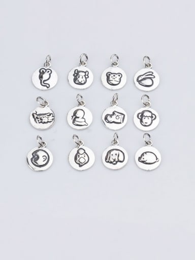 925 Sterling Silver With  Cute Zodiac Signs  Round Pendant Diy Accessories