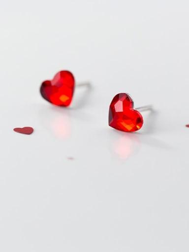 925 Sterling Silver Cubic Zirconia Red Heart Minimalist Stud Earring