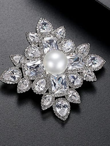 platinum Copper Cubic Zirconia Flower Luxury Brooch