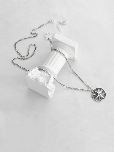 Vintage Sterling Silver With  Simplistic Round Compass Pendant Necklaces