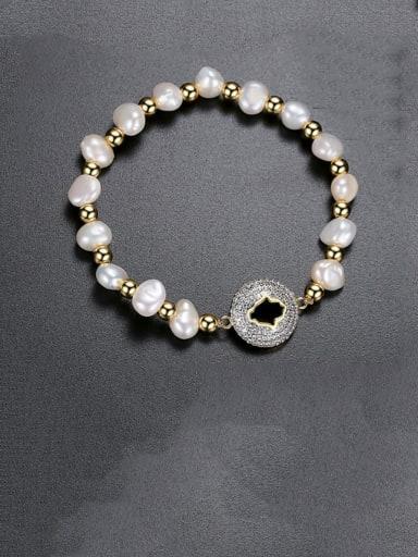 gold T14E21 Copper Freshwater Pearl Round Minimalist Adjustable Bracelet