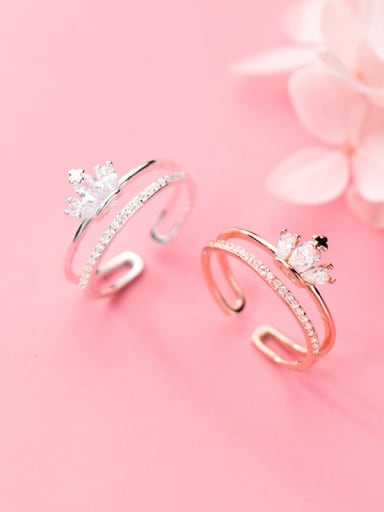 925 sterling silver cubic zirconia  minimalist crown  stackable ring