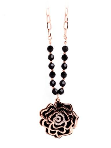 Copper Cubic Zirconia Hollow Flower Vintage Necklace