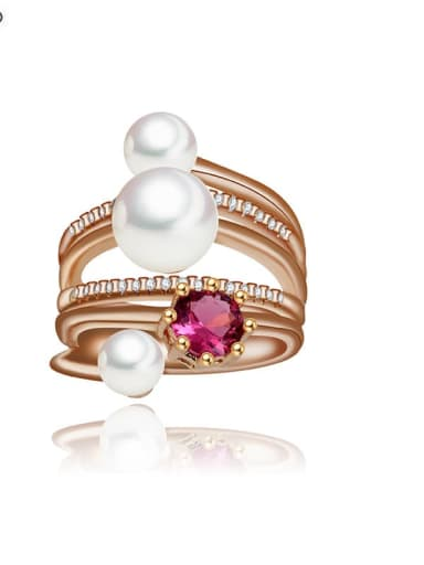 Copper Imitation Pearl Geometric Ethnic  Free Size Stackable Ring