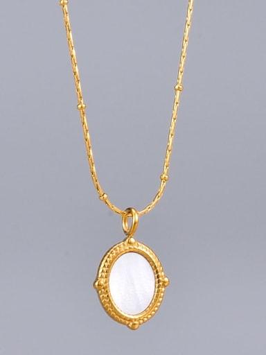 Titanium Shell Oval Minimalist Necklace