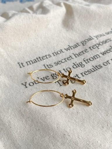 925 Sterling Silver Cross Minimalist Drop Earring